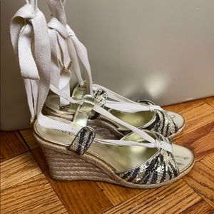Guess gold multi texture peep toe wedges